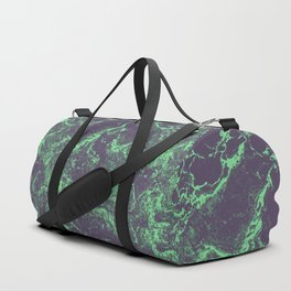 Alien marble - green & purple stone texture Duffle Bag