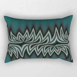Fractal Tribal Art in Pacific Teal Rectangular Pillow