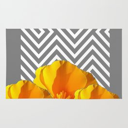 ABSTRACT CONTEMPORARY YELLOW POPPIES PATTERNS Rug