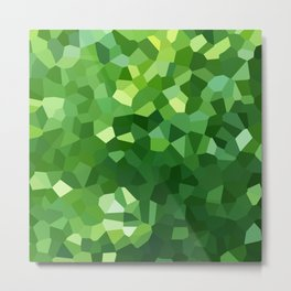 Green Polygon Shape Stained Glass Mosaic Abstract Metal Print