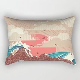 Stylized big waves of ocean or sea at sunset landscape Rectangular Pillow