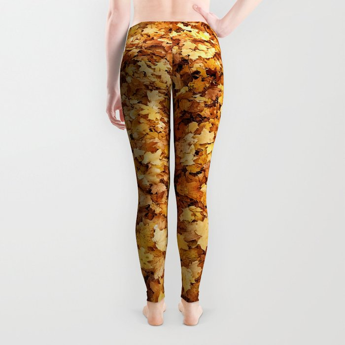 Gold yellow fall maple leaves Leggings