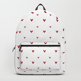 Small sketchy red hearts pattern on white background Backpack