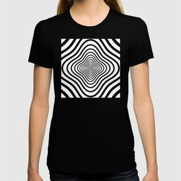 op art - black and white twisty tunnel T-shirt