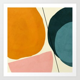 shapes geometric minimal painting abstract Art Print