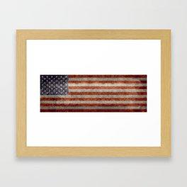 USA flag - Retro vintage Banner Framed Art Print