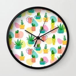 Pastel Cacti Wall Clock