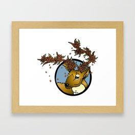Flowered Antlers Framed Art Print