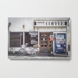 Bike and Coffee Shop in Kyoto Metal Print