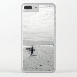 surfer on solana beach, san diego, california Clear iPhone Case