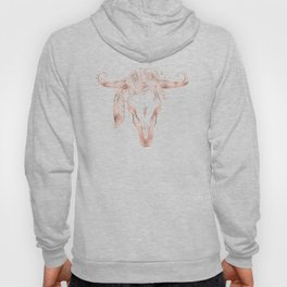 Rose Gold Bull Skull with Pink Feather Flowers Hoody