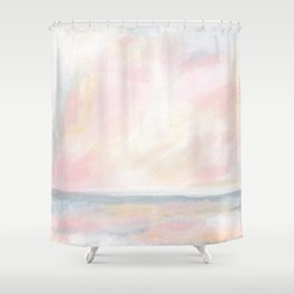 Patience - Pink and Gray Pastel Seascape Shower Curtain
