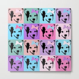 Corgi Pop - cute corgi with bow, dog, dogs, corgis, pop art, pink and purple, girls pop art Metal Print