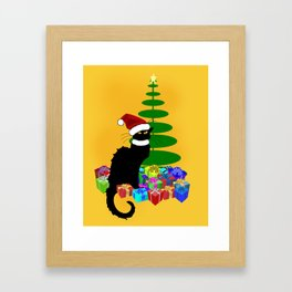 Christmas Le Chat Noir With Santa Hat Framed Art Print