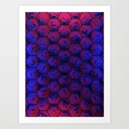 Blue hexagonal honeycomb Art Print