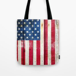 Vintage American Flag On Old Barn Wood Tote Bag