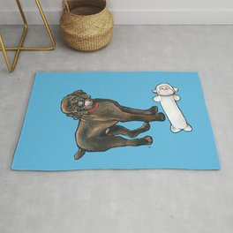 Milo the Poodle with his Monkey Rug
