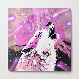 WOLF PINK MOON SHOOTING STARS Metal Print