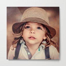 Child Looking up Girl Hat Vintage Portrait Metal Print