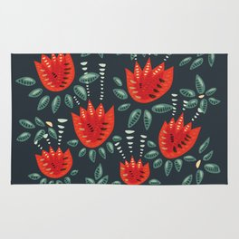 Abstract Red Tulip Floral Pattern Rug