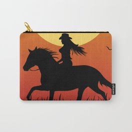 Riding Under a Harvest Moon Carry-All Pouch
