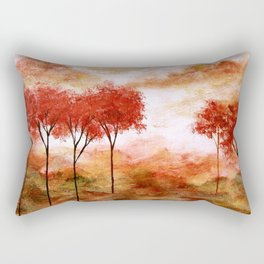 Burning Promise, Red Trees Landscape Art Rectangular Pillow