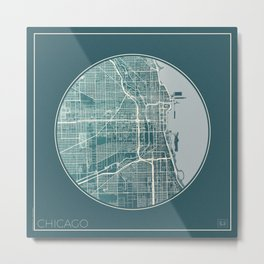 Chicago Map Planet Metal Print