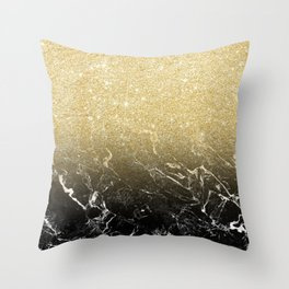 Modern girly luxurious faux gold glitter black marble pattern Throw Pillow