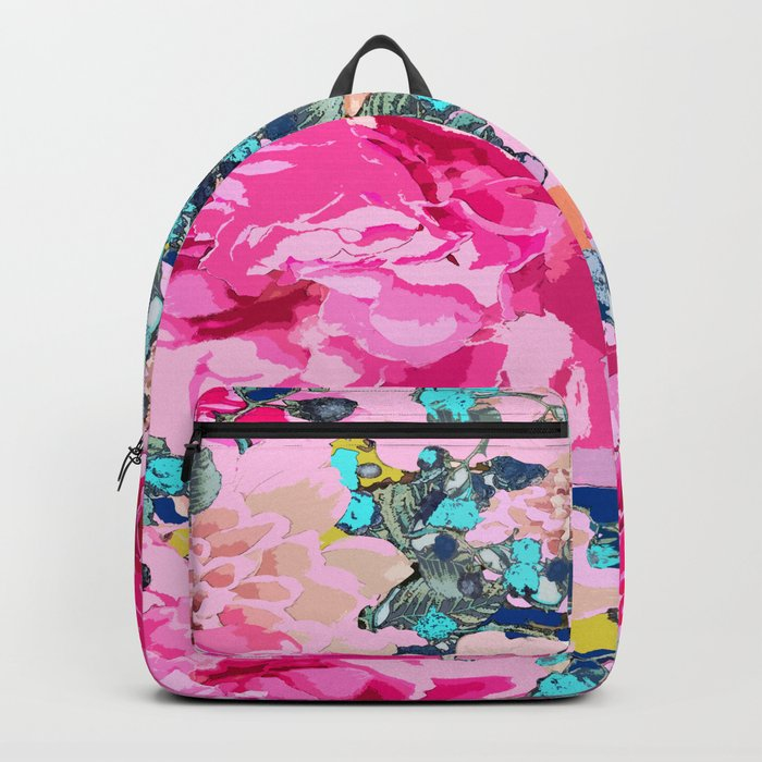 Pink floral work with some turquoise and yellow details Backpack