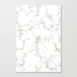Fine Gold Marble Natural Stone Gold Metallic Veining White Quartz Canvas Print