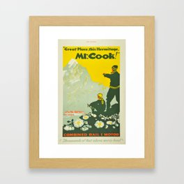 Vintage Mount Cook New Zealand Travel Climbing Framed Art Print