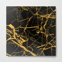 Orange Marble - Abstract, textured, marble pattern Metal Print