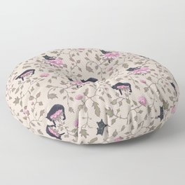 Cats and flowers on beige background Floor Pillow