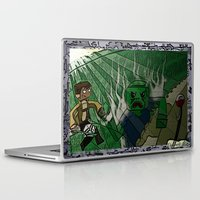 shingeki no kyojin Laptop & iPad Skins featuring Shingeki no Minecraft (Minecraft into Shock/Minecraft Advance) - Attack on Minecraft by Bone Head Illustrations
