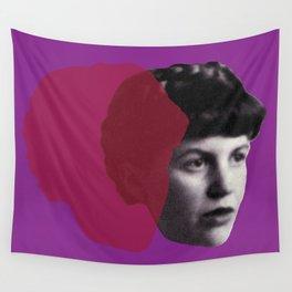 Sylvia Plath Portrait - purple pink Wall Tapestry