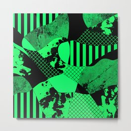 Black And Teal - Abstract, geometric, multi patterned artwork Metal Print