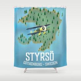 Styrsö, sweden travel poster. Shower Curtain