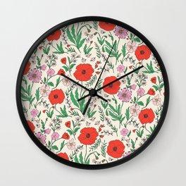 RETRO POPPY - PINK & RED Wall Clock