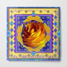 Golden Dawn Rose & Butterflies Abstract Design Metal Print