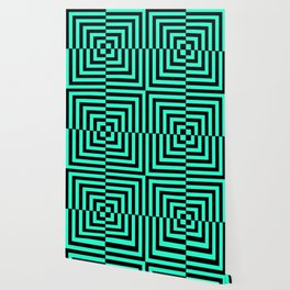GRAPHIC GRID DIZZY SWIRL ABSTRACT DESIGN (BLACK AND GREEN AQUA) SERIES 5 OF 6 Wallpaper