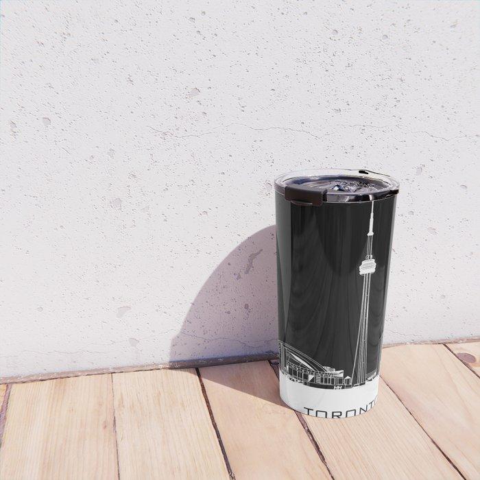 Toronto Skyline - White ground / Black Background Travel Mug