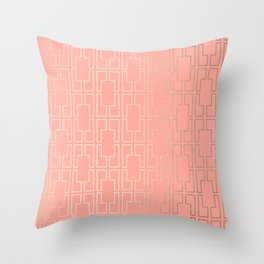 Simply Mid-Century in White Gold Sands on Salmon Pink Throw Pillow
