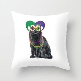 Cat Mardi Gras Street Party Carnival Festival Gift Throw Pillow