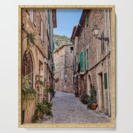 Narrow street in Valldemossa village - Mallorca, Spain Serving Tray