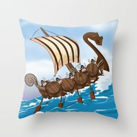 vikings Throw Pillows featuring The Vikings by Nick's Emporium Gallery