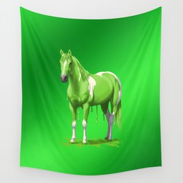 Neon Green Wet Paint Horse Wall Tapestry