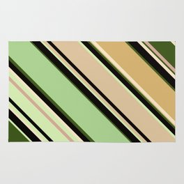 Striped pattern, diagonal.Brown, beige, green ,black stripes. Rug
