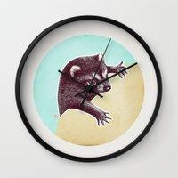 climbing Wall Clocks featuring Climbing Raccoon by KokDamon Lam