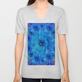GORGEOUS BLUE FLOWERS  PATTERN ABSTRACT GREY ART Unisex V-Neck