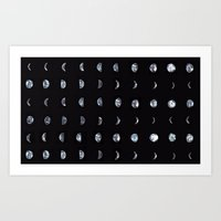 moon phase Art Prints featuring Moon Phase by Gracie Chai